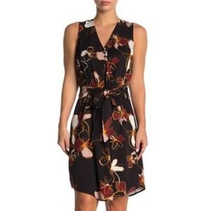 14th & Union Sleeveless Floral Front Tie Dress